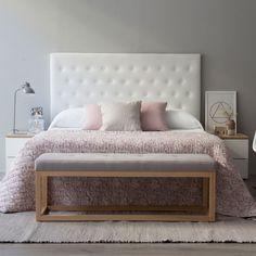 Cabecero - Camas/Cabeceros - Dormitorios - Kenay Home, Dream Bedroom, Home Bedroom, Bedroom Decor, Bedroom Ideas, Bedding Decor, Design Bedroom, Blush Bedroom, Bedroom Seating, Beautiful Bedrooms