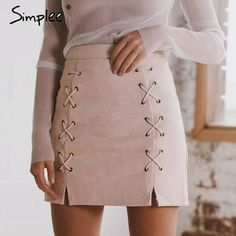aade8e27d8f Simplee Autumn lace up leather suede pencil skirt Winter 2017 cross high  waist skirt Zipper split