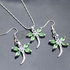 Green Dragonfly Rhinestone Necklace Set