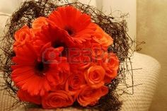 orange twig posy