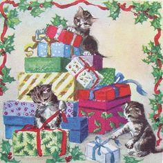 Erica Von Kager Brownie Christmas card kittens