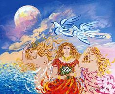 Tres Kopeles by Stathopoulos Georgios - Greek Painter Contemporary Decorative Art, Modern Art, Greece Painting, Mediterranean Art, Popular Art, Greek Art, Naive Art, Flower Art, Folk Art
