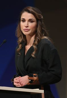 Queen Rania of Jordan speaks at the annual congress of the Federation of German Industry (BDI) on October 6, 2016 in Berlin, Germany.