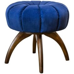 Heywood-Wakefield Bentwood Pouf/Ottoman in Sapphire Blue Velvet 1