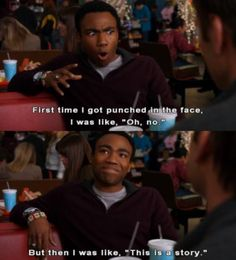 Remember this show. Community Memes, Community Tv Show, Community College, T Bone, Tv Shows Funny, Punch In The Face, Donald Glover, Tv Show Quotes, Movie Quotes
