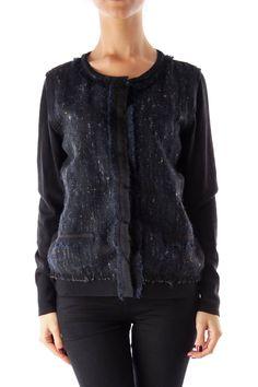 Like this Elie Tahari cardigan? Shop this without using money! Trade. Shop. Discover. #fashionexchange #prelovedfashion  Black & Blue Tweed Cardigan by Elie Tahari
