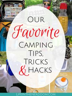 Our Favorite Camping Tips, Tricks & Hacks These are our favorite tips, tricks and hacks for saving time, money and sanity on your next camping trip! Related posts:These family camping hacks are. Auto Camping, Diy Camping, Camping Ideas, Camping Hacks With Kids, Camping Games, Camping Supplies, Beach Camping, Camping Essentials, Camping Equipment