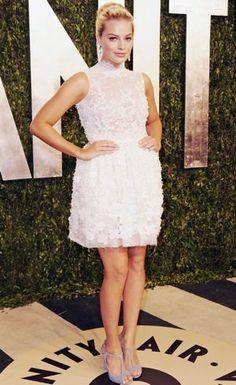 Short evening dress. White dress. Margot Robbie. Love the lavender shoes!