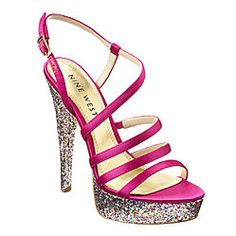 High Heels : Nine West: Sandals > Entire Sandal Collection > Armcandy glitter platform sand I Love My Shoes, Shoes Too Big, New Shoes, Heeled Boots, Shoe Boots, Heeled Sandals, Dress Sandals, Shoes Sandals, Glitter Shoes
