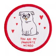 Whether you're a pug lover or just a little bit weird, this ones for you! This wonderful iron on patch designed by Gemma Correll would look great on your favourite tote, denim jacket or dungarees!   Details:  D: 5.5cm Instructions on reverse.