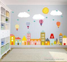 Stadt-Wandtattoos Wandtattoo Kinderzimmer von BebeDivaBoutique