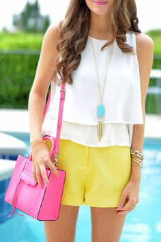 Fabulous Summer Colours Combination and Play. White Blouse Yellow Shirts and Pink Bag. Perfect Look.