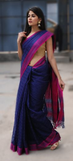 #timeless #sari in a deep blue only at #fabindia