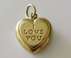 Vintage 9ct Gold I Love You Heart Charm by TrueVintageCharms on Etsy