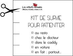 Do It Yourself : Kit de survie pour patienter Family Deal, Travel With Kids, Printables, Math, Diy, Travelling, Parents, Hobbies, Survival Kit
