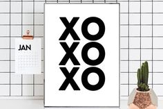 Xo print Xo poster Xo art Xo printable Hugs and kisses