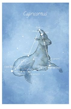 Astronomy art, Capricornus constellation, Capricorn, luminescent stars hand-embellished print on Etsy, $28.00