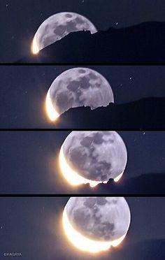 Moon boat, rizing at the top of the mount Fuji (photo by KAGAYA_11949, 2012-9)