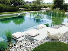 modern swimming pond with places to sit and lie down - Piscina Swimming Pool Pond, Natural Swimming Ponds, Natural Pond, Swimming Pool Designs, Swimming Pool Images, Landscape Design, Garden Design, Pond Design, Dream Pools