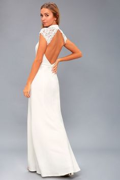 Look flawless at any occasion in the Crazy About You White Backless Lace Maxi Dress! A floral lace maxi dress with a sweetheart bodice. White Lace Maxi Dress, Cute White Dress, Backless Maxi Dresses, White Dresses For Sale, Little White Dresses, Wedding Dresses Under 100, Bridal Dresses, Dresses Online, Short Dresses