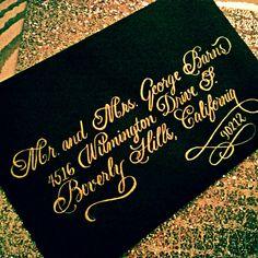 Flourished Bickham script in gold ink. #nationwidecalligrapher #Calligraphybyjennifer