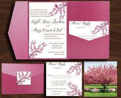 Sample Cherry Blossom Pocketfold Invitation by thriftychicpaper, $4.00