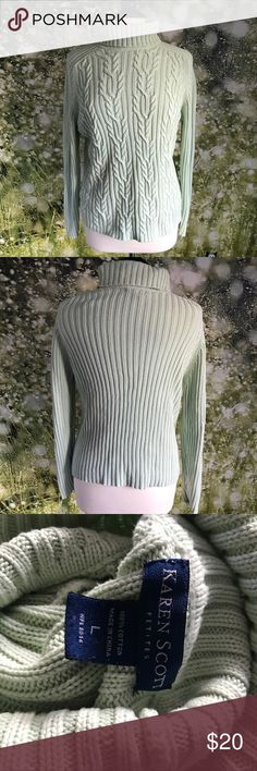 Karen Scott turtleneck LP Light mint green cable knit turtleneck size petite large from Karen Scott Karen Scott Sweaters Cowl & Turtlenecks