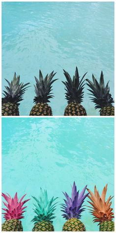 Summer party DIY: Painted pineapples before + after