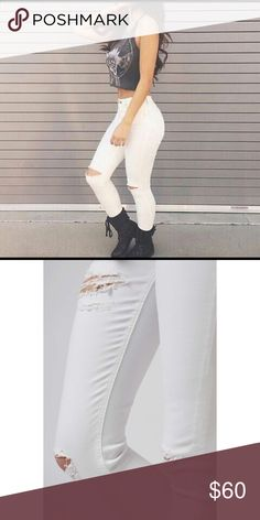 Topshop Jamie Jeans (Super Rip) The iconic style MOTO Jamie is a high waist distressed skinny jean that you'll fall in love with! Crafted with a super-stretchy white cotton blend, the signature soft denim includes multiple pockets, a top button fly, & super rip details for an edgy vibe.  • 91% Cotton, 6% Polyester, 3% Elastane • Machine wash • Brand new! No tag • Sizes available: W26 L30, W28 L30   • Ask all questions prior to purchase • Bundle & save 15% off 2+ items • Feel free to make…