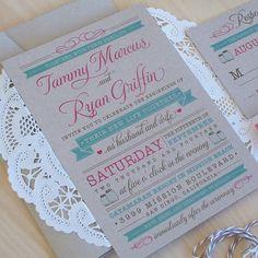 Kraft Wedding Invitation, Country Wedding Invitation, Doily Invitation, Mason Jar Invitation, Rustic Wedding Invitation with bakers twine