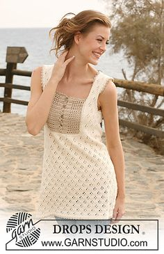 """Ravelry: 118-22 Tunic in """"Safran"""" with crochet yoke in """"Cotton Viscose"""" pattern by DROPS design"""