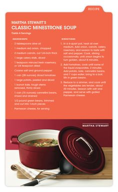 Martha Stewart shares a tasty meal to help you get in the Fall spirit. You're going to love her Classic Minestrone Soup!
