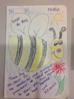 A gift to an elementary teacher who had taught these students about bees & honey!