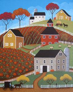 Hillside Barns Print By Mary Charles
