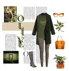 """Winter's Haute Hues - #8 Olive"" by charlie-sparrow ❤ liked on Polyvore featuring Mode, York Wallcoverings, Chicwish, H&M, Balmain, Miz Mooz, Leatherbay und Oliver Peoples"