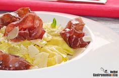 Ravioli de queso y de boletus con carpaccio de cecina y aceite de trufa | Gastronomía & Cía
