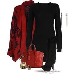 """* Cape & Sweater Dress *"" by hrfost1210 on Polyvore"