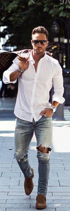 Cool 47 Inspiring Jeans Styles Ideas For Men. More at http://simple2wear.com/2018/04/25/47-inspiring-jeans-styles-ideas-for-men/