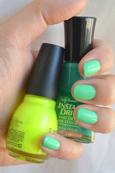 Meet my Polish: Trendy Tuesday: Neon Green!! i feel like such a moron for not figuring this out sooner. you can mix nail colors together to get what you want!