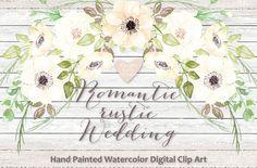 Watercolor Romantic rustic clipart by designloverstudio on Creative Market