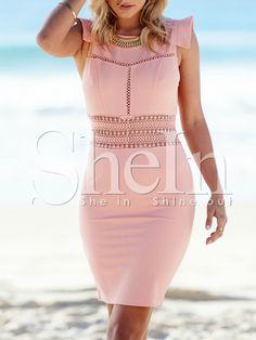 Pink Cap Sleeve Hollow Zipper Dress-SheIn
