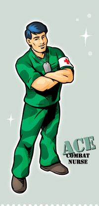Ready to take on any challenge, Ace is proud to serve his country as a combat nurse. He stands ready, armed with knowledge and skills, protecting patients from harm on and off the battlefield. Barbie Dolls, Doctors, Nursing, Knowledge, Challenge, Men, Country, Crafts, Ideas