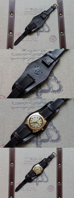 Hand made leather bund watch strap from Bear All Leather Works. Hand made leather bund watch strap from Bear All Leather Works. Leather Bag Tutorial, Leather Camera Strap, Leather Company, Handmade Leather Wallet, Mens Watches Leather, Leather Watch Bands, Luxury Watches For Men, Leather Cuffs, Leather Accessories