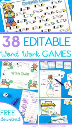 Sight word games for the whole year! They're EDITABLE too so you can use any word work list.