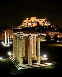 The temple of Olympian Zeus and in the background is the Acropolis. Parthenon Athens, Acropolis, Places Around The World, Around The Worlds, Tunnel Of Love, Athens Greece, Olympians, Amazing Destinations, The Good Place
