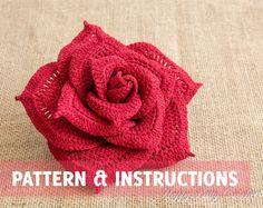Crochet Pattern Rose y las instrucciones - Patrón flor del ganchillo - Patrón Crochet - Modelo grande Rose - DESCARGA INMEDIATA - P072