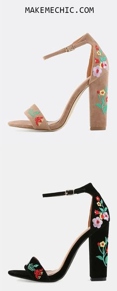 Floral Embroidered Chunky Heels