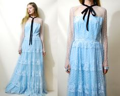 70s Vintage LACE DRESS Tiered Long Sleeve Sheer Powder Blue Bridesmaid Pussy Bow Long Pastel Tulle Maxi Victorian Bohemian Retro 1970s vtg S