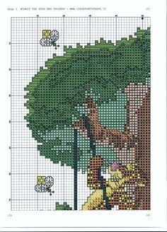 Borduurpatroon: Winnie de Poeh *Cross Stitch Winnie the Pooh ~Vrienden in Boom *In Tree 3/8~
