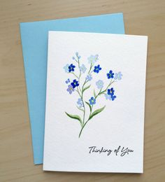 Hand painted Card Thinking of you Card Watercolor by CardwithHeart